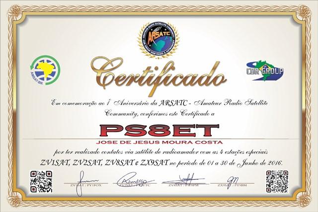 Certificado 1º ano da ARSATC