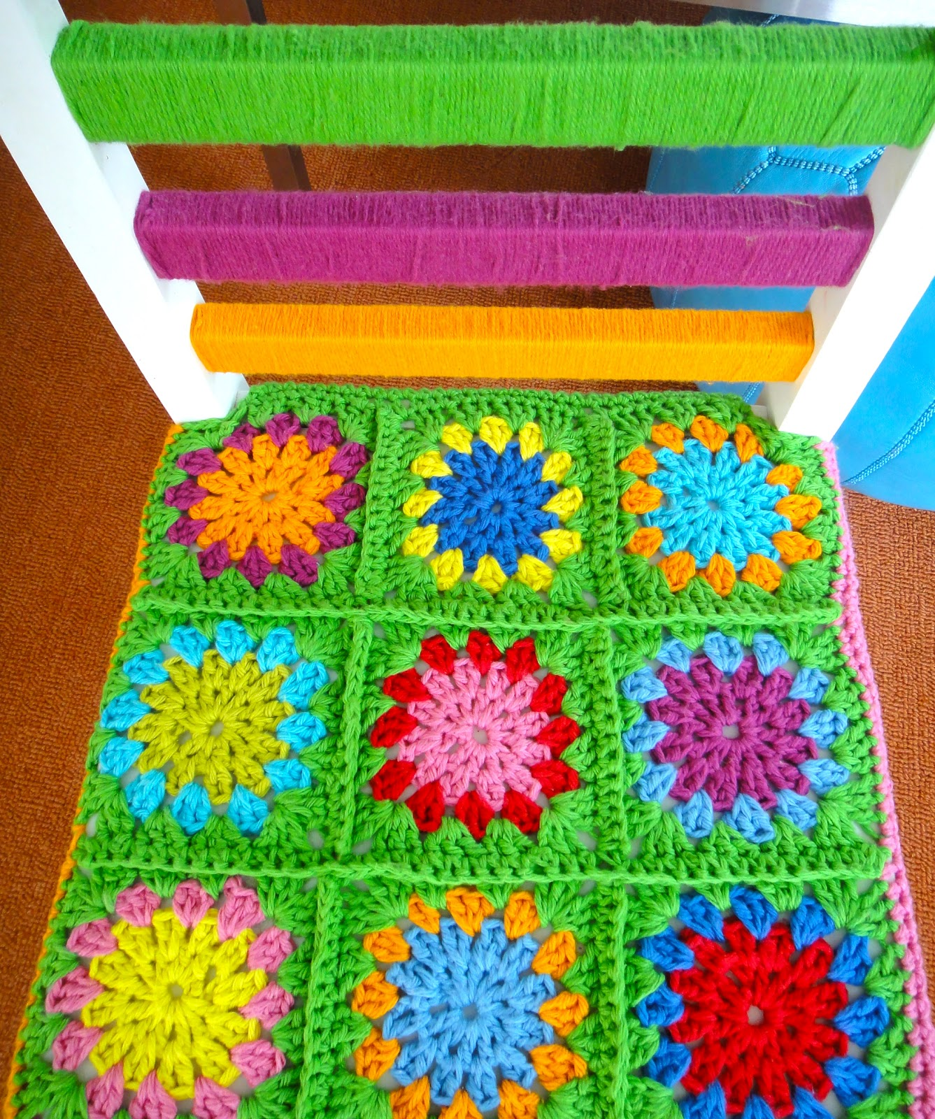 Yarn bombed chair val 39 s corner - Crochet chair cover pattern ...