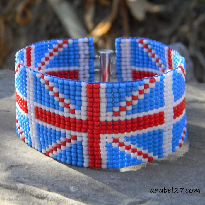 браслет из бисера британский флаг