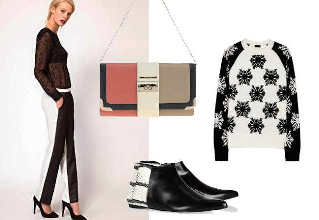 black white trousers, phillip lim trousers, pierre hardy boots, black white sweater