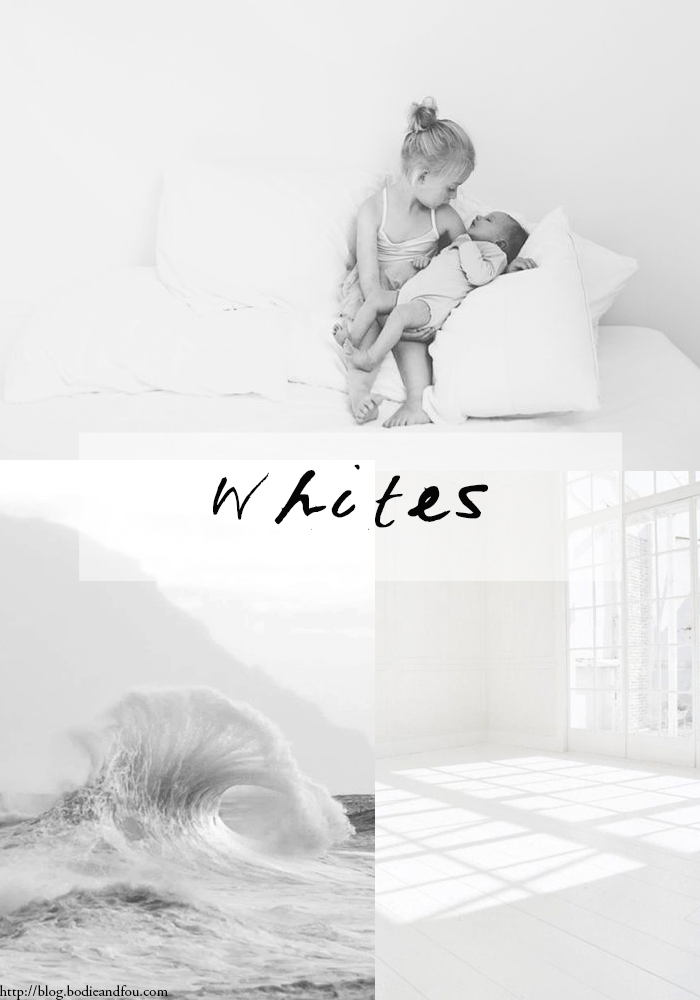 # 10 WHITES 01 Series curated by Karine Candice Kong, mood board >> http://blog.bodieandfou.com