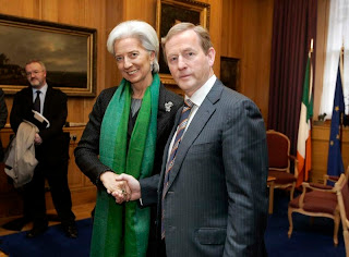 Christine Lagarde and Taoiseach (Prime Minister) Enda Kenny in Dublin last week.