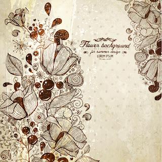ラインアートで花を描いたレトロな背景 retro line art flower background イラスト素材