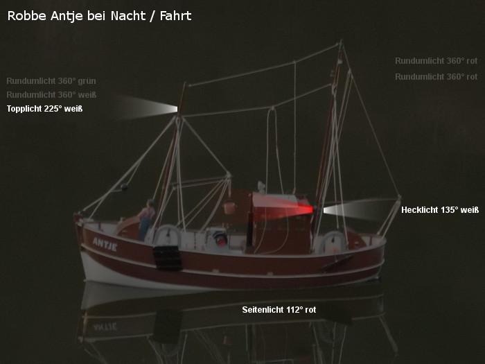 Antje von Robbe - Position der möglichen neuen Beleuchtung - Topplicht und Rundumlichter - Fahrt