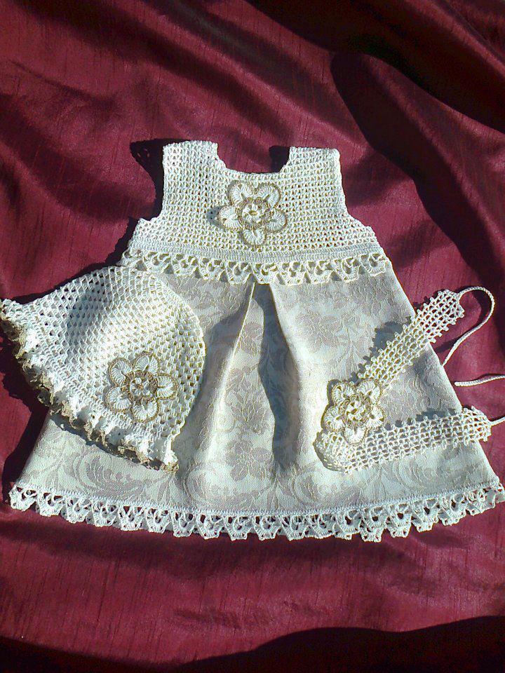 Croche pro bebe vestidinhos em croche e tecido lindos d vestidos
