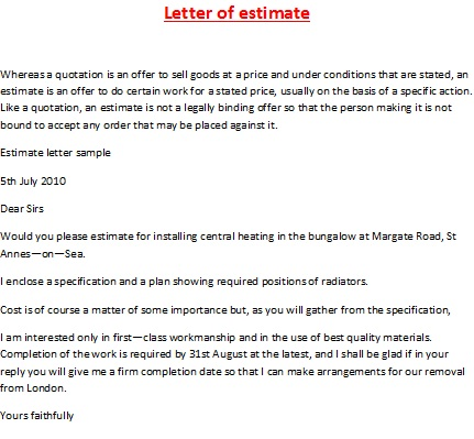 letter of estimate estimate letter sample
