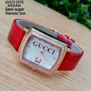 Gucci Three Leather Merah