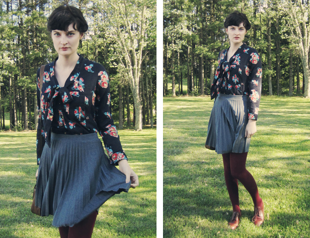 Autumn florals, accordion pleated skirt, asos mulberry tights, leather brogues