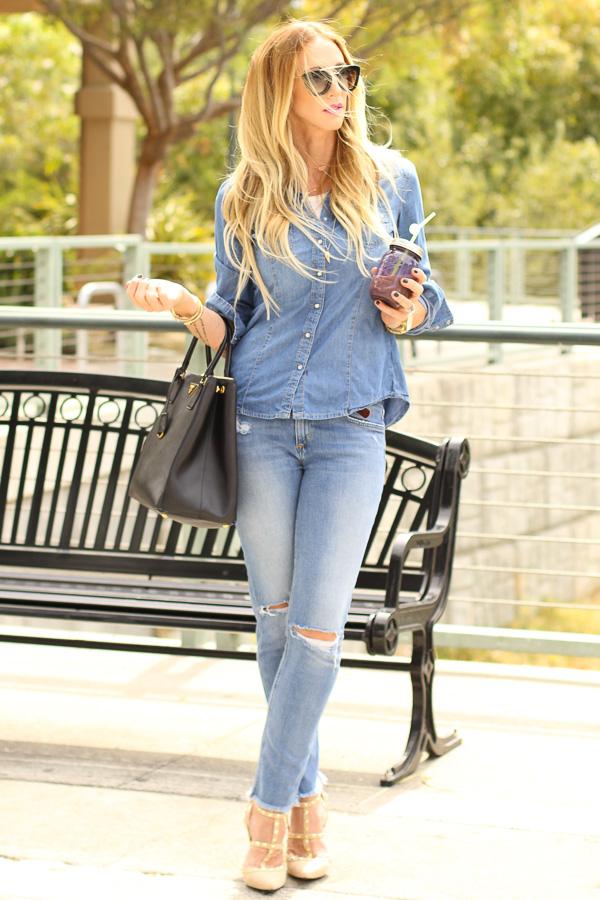 denim top and denim jeans