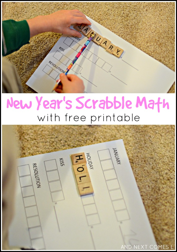 New Year's themed elementary math and spelling using Scrabble tiles - comes with a free printable from And Next Comes L