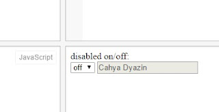 Disabled and enable input form with select option in javascript