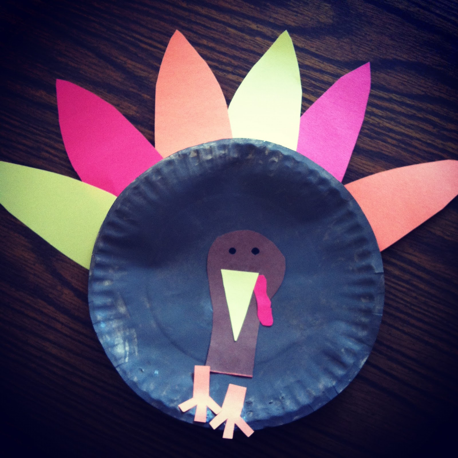 Handmade by cj paper plate turkey craft for Paper plate craft images