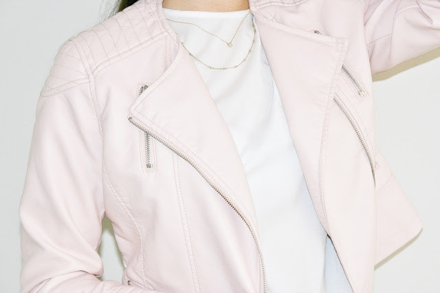 Katherine Penney Chic Fashion Style Sale Shopping New PInk Leather Faux Jacket Biker Spring Summer