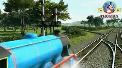 Big blue Gordon locomotive engine huffed along narrow branch line to Thomas and Percy Maron station