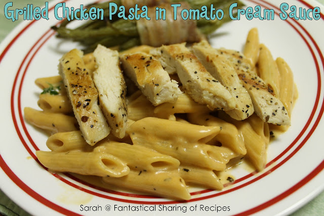Grilled Chicken Pasta with Tomato Cream Sauce. Decadent, rich, and fancy, but easy to make. #pasta #chicken #tomato