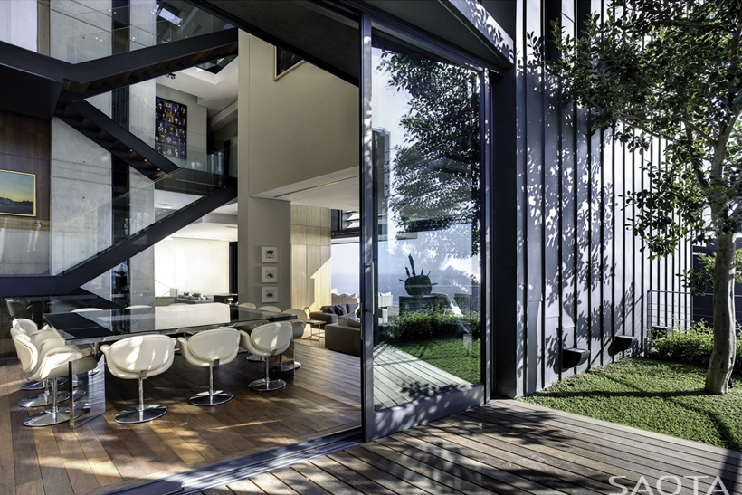 Open glass wall and contemporary interiors