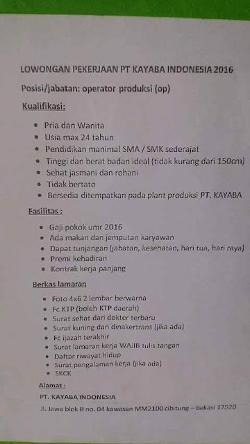 Lowongan kerja PT Kayaba Indonesia januari 2016