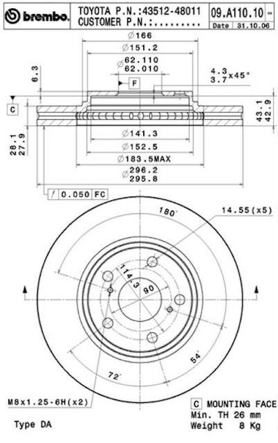 Brake Disc Toyota CAMRY 2.4 VVTi, 3.0 V6 (09.A110.10)
