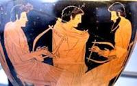 Pitágoras e a música - vaso grego antigo