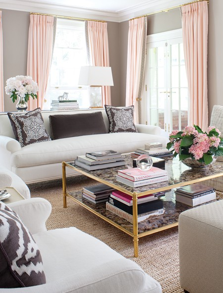 Pale pink curtains drapes pink accents