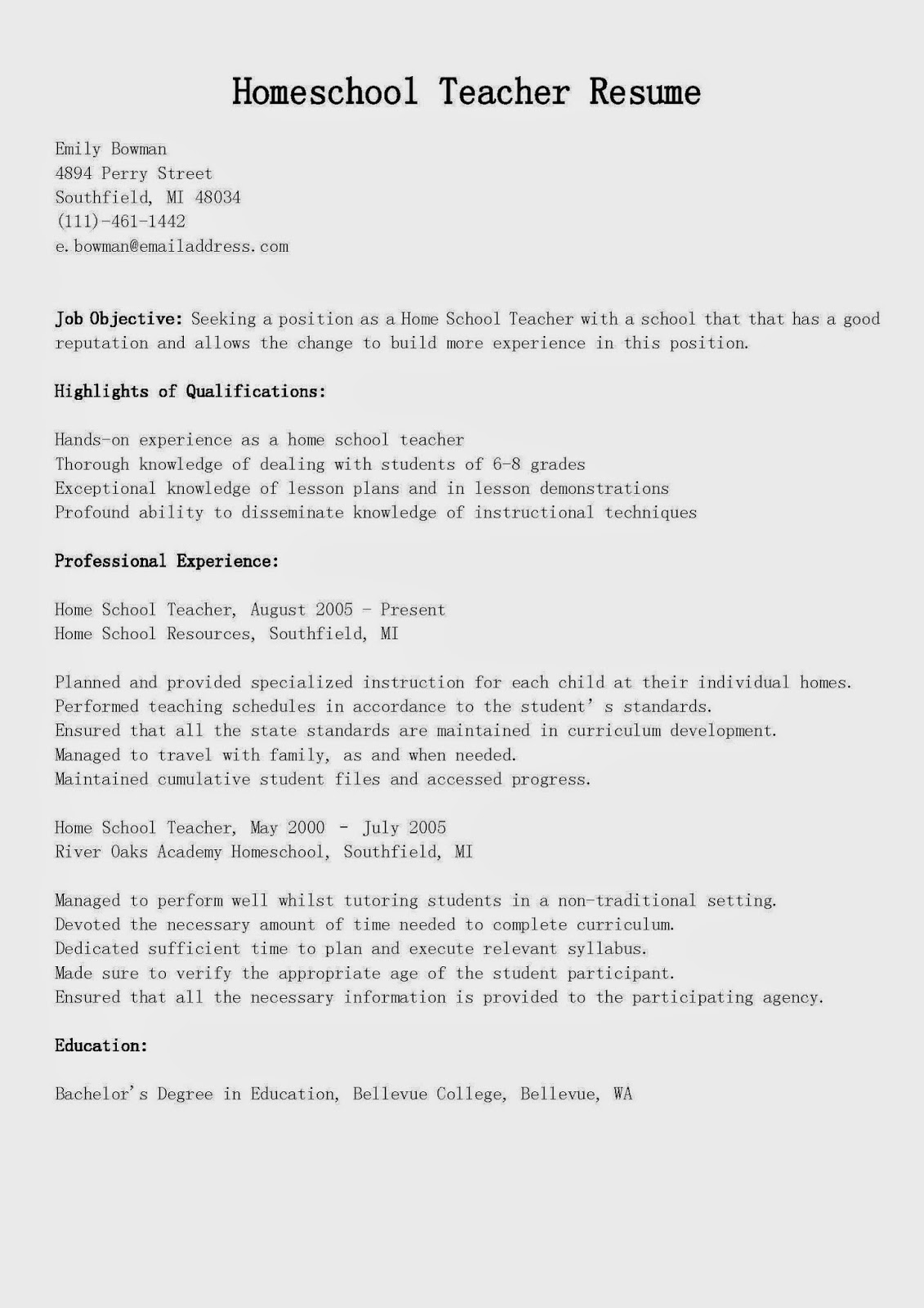 Resume Samples Homeschool Teacher Resume Sample