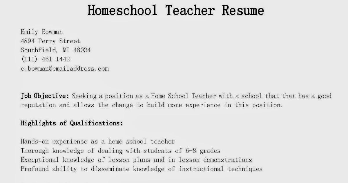 Great Sample Resume: Resume Samples: Homeschool Teacher Resume Sample
