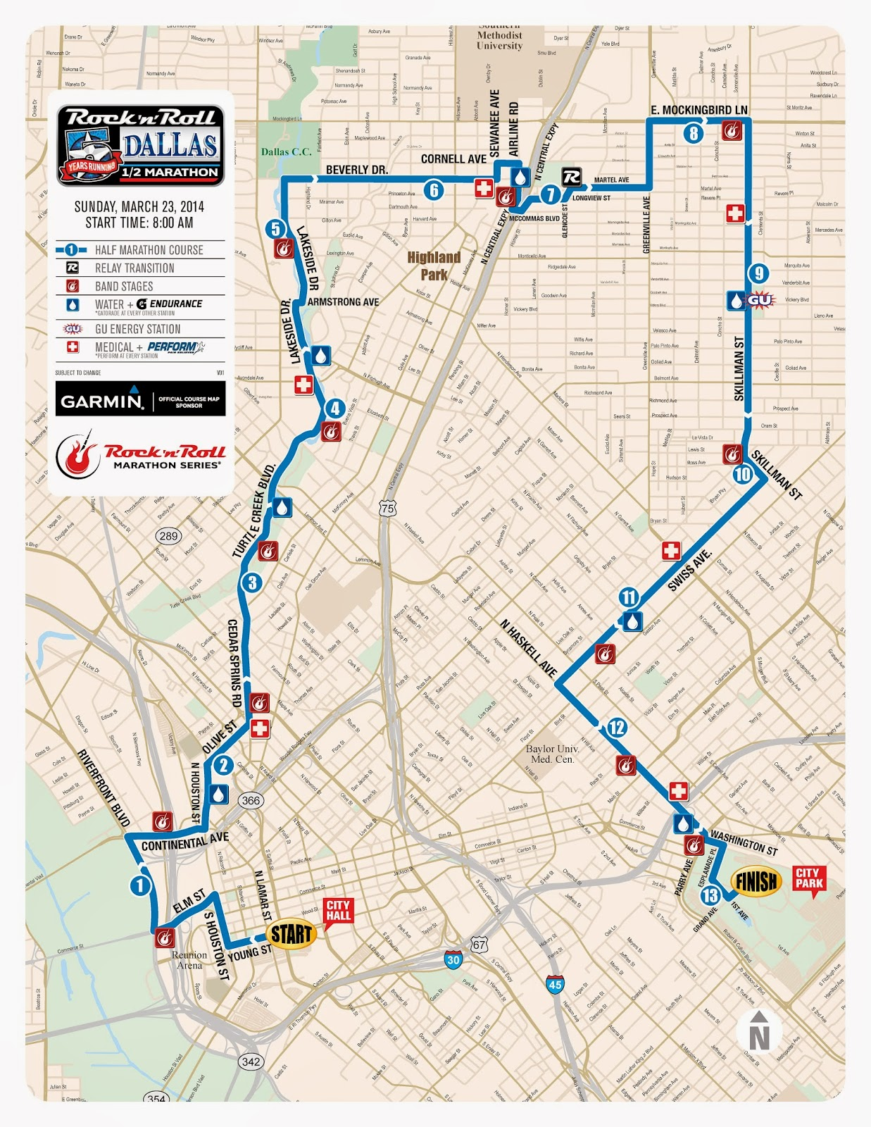 Rock 'n Roll Dallas Half Marathon Course