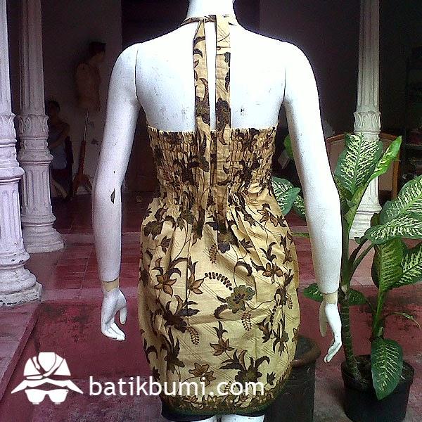 dress batik tanpa lengan seksi