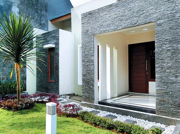 Model Teras Rumah Minimalis Dengan Bingkai Batu Alam Sala Gendang