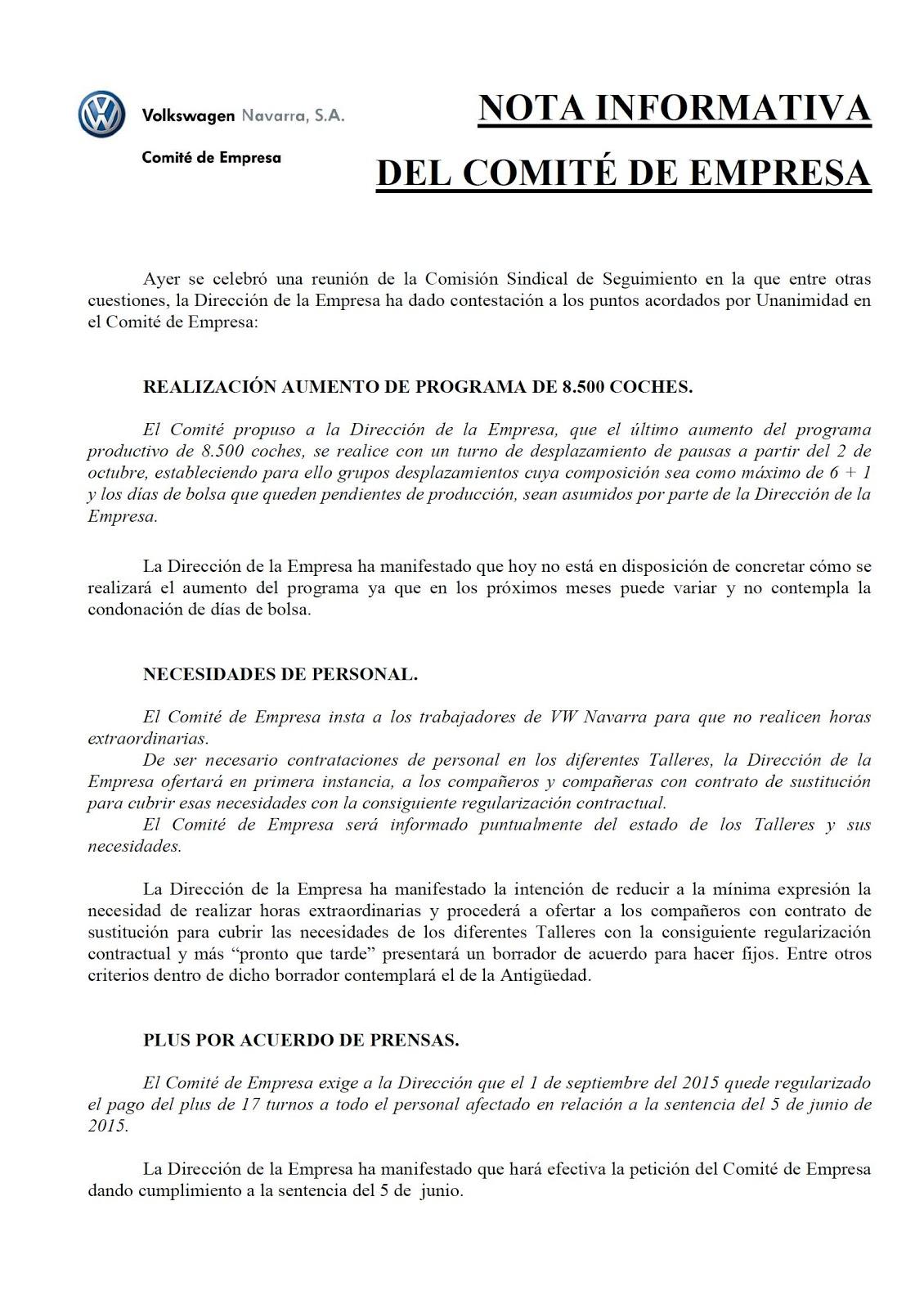 UGT en VW Navarra: NOTA COMITE DE EMPRESA 31-07-2015