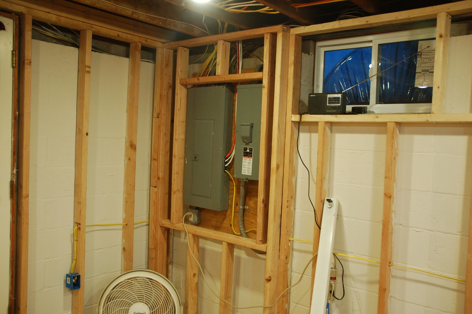 the steaks pictures of the basement remodel in mid stage