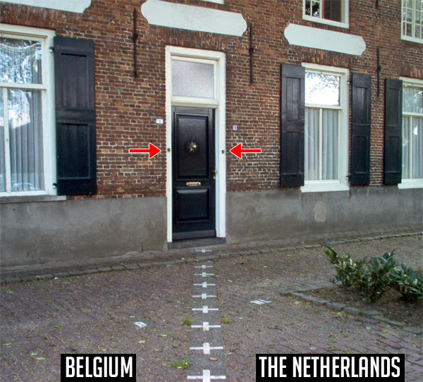 Ring two different doorbells of a house on the border of Belgium and The Netherlands