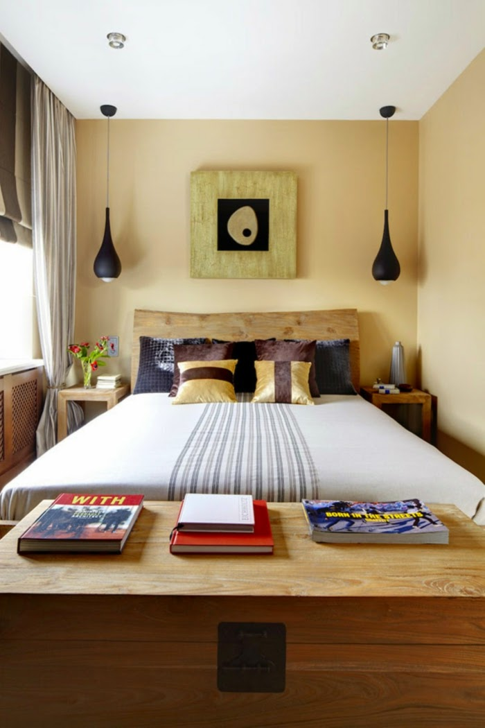 Nice Headboard Ideas For Small Bedrooms Part - 6: Small Bedroom Design Ideas: Large Bed With Headboard Of Raw Wood