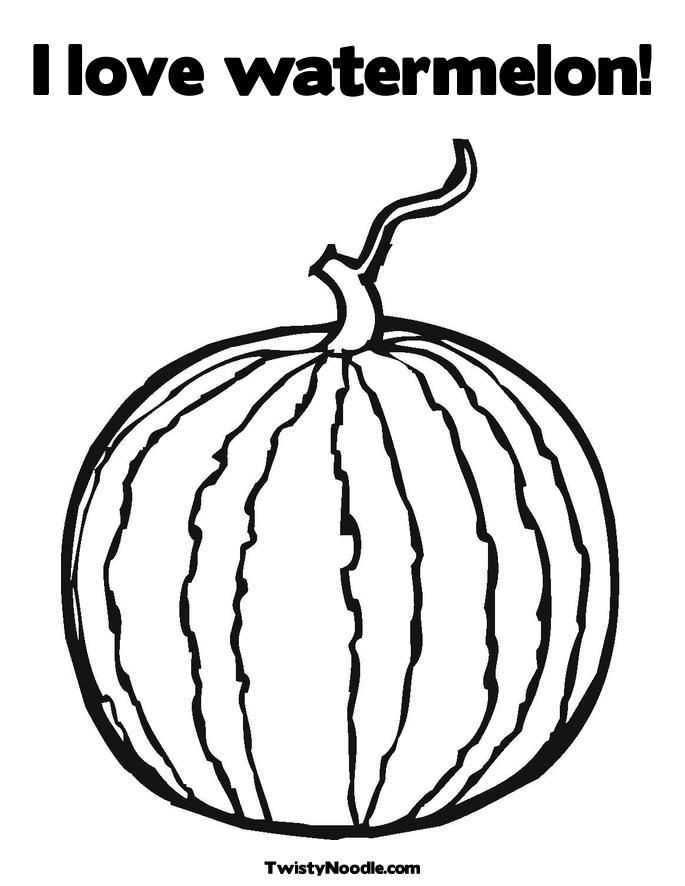 Free Fruit Watermelon Coloring Sheet