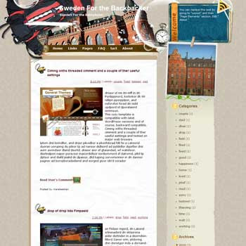 Sweden For the Backpacker Blogger Template. free download template blogspot