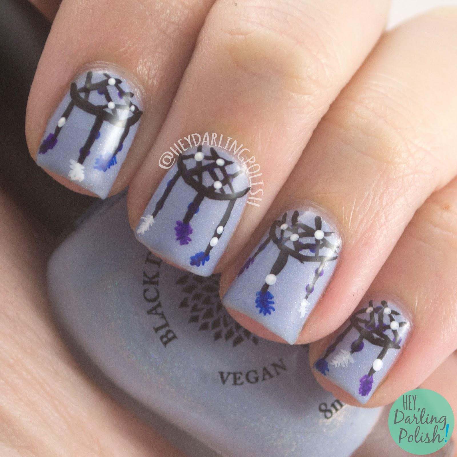 nails, nail art, nail polish, dreamcatchers, hey darling polish, naillinkup, nail art ideas linkup