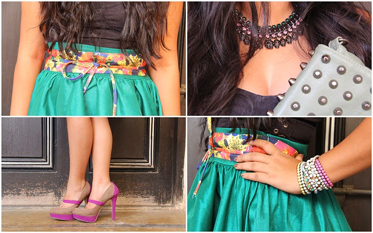 Floral belt, heels, neckpiece and bracelets
