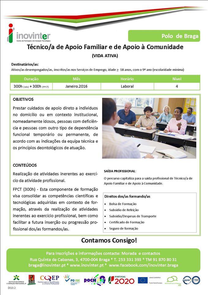 Curso financiado para desempregados em Braga (VIDA ATIVA)