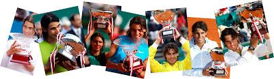 Rafa Nadal, con sus anteriores trofeos de Montecarlo