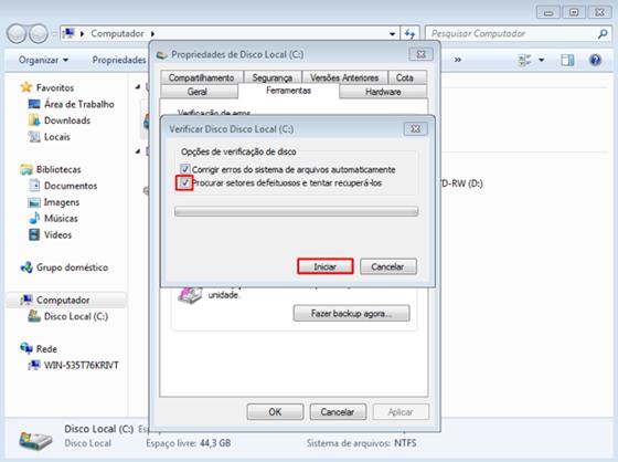 Processo de verificação do disco - 560x418