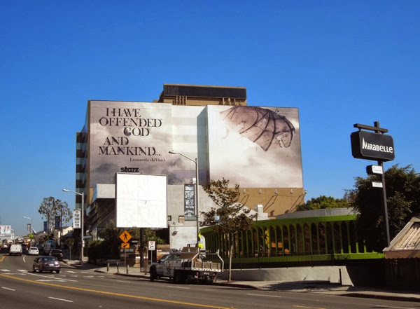Giant Da Vinci's Demons season 2 teaser billboard Sunset Strip