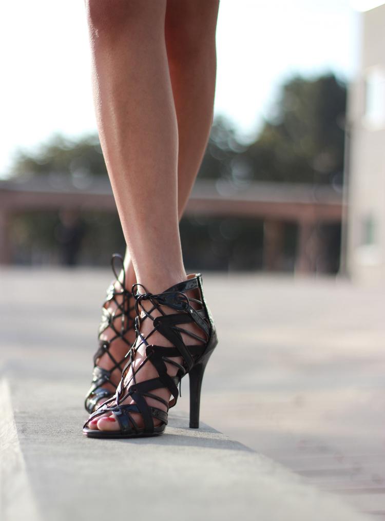 black laceup heel sandal trend cutouts