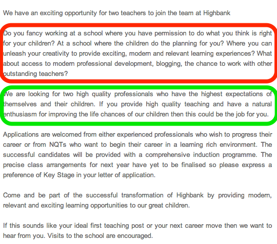 the best teaching job advert ever