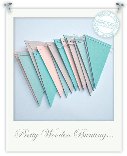 Pretty wooden bunting by Torie Jayne
