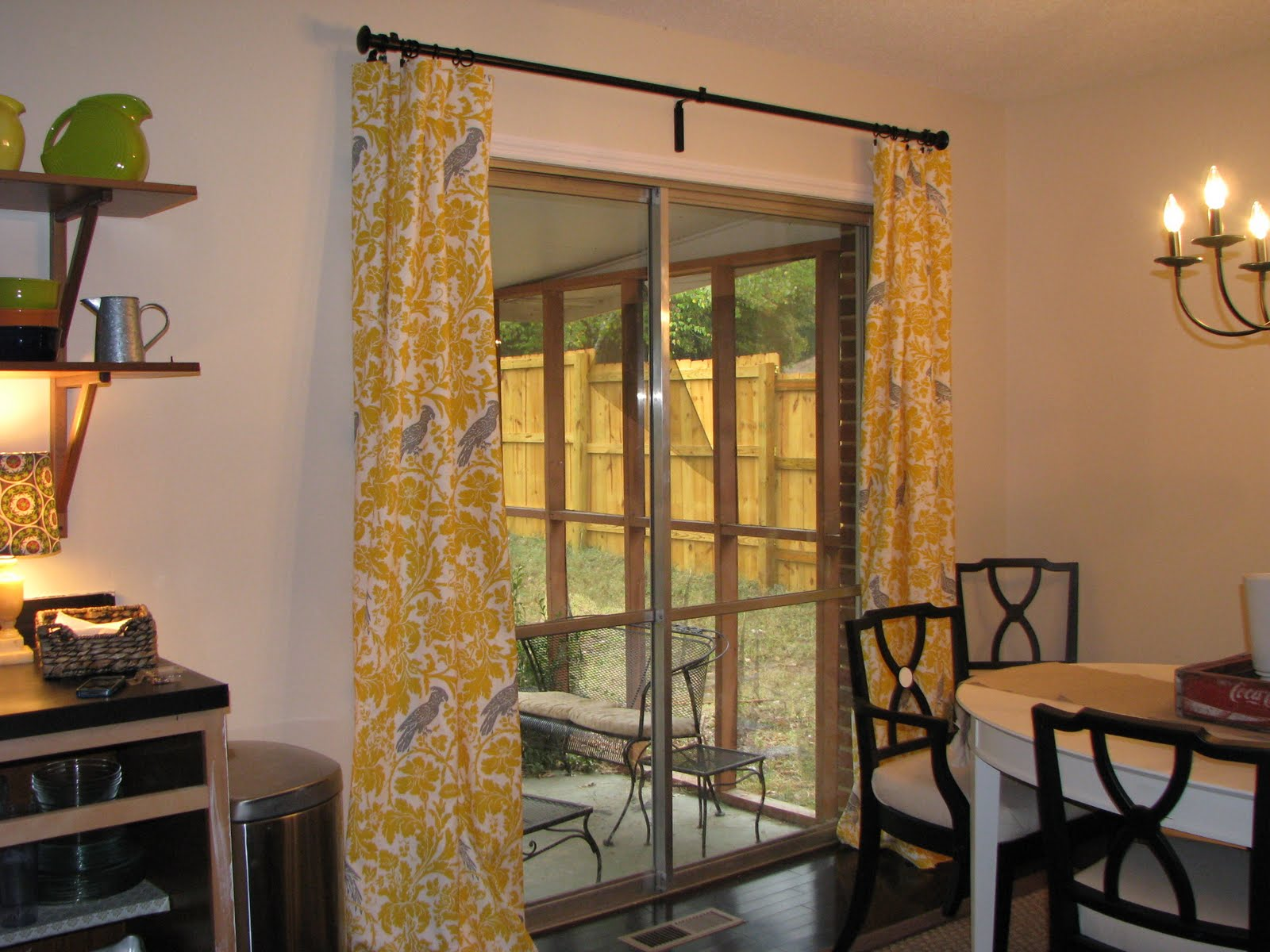 Yellow and gray parrot curtains - Yellow dining room curtains ...