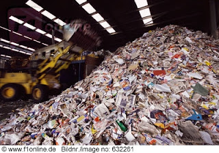 mountain of paper for recycling