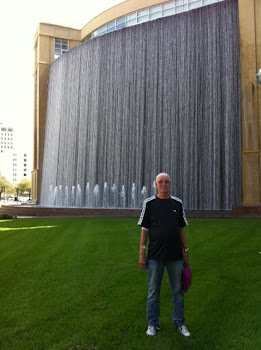 Joe in front of MDACC Spectacular Waterfall.