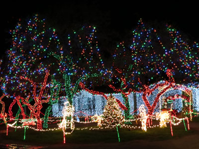 multi colored light displays lead towards a house covered in white lights