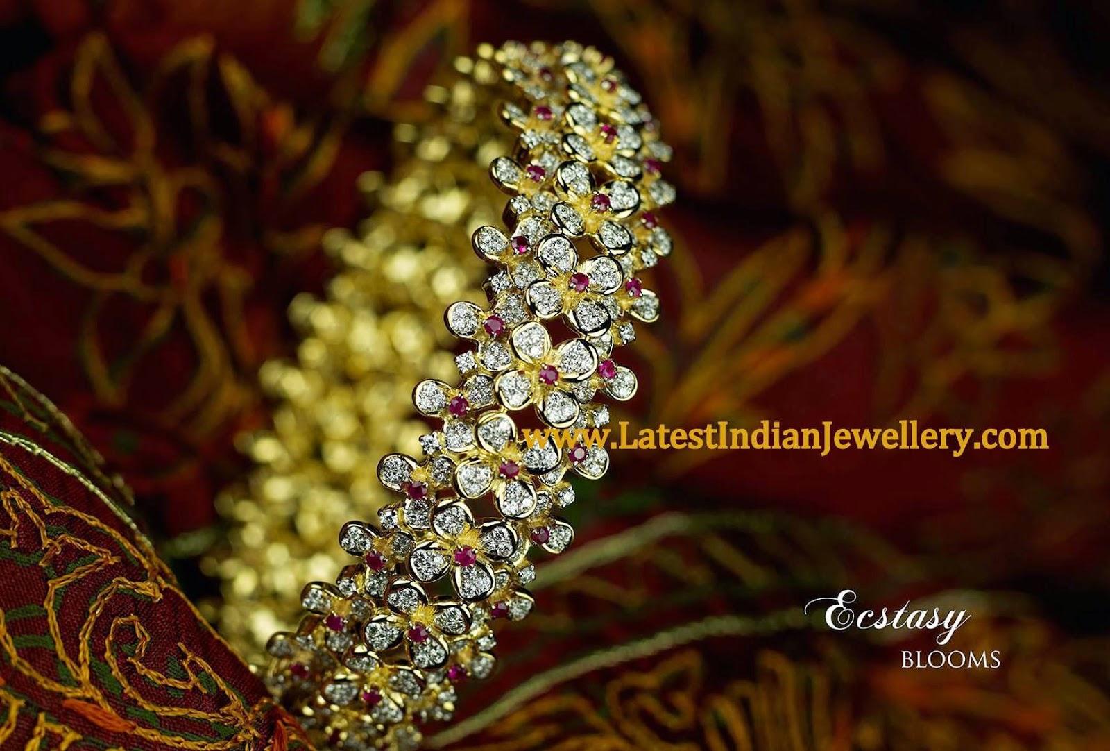 Single Floral Broad Diamond Bangle