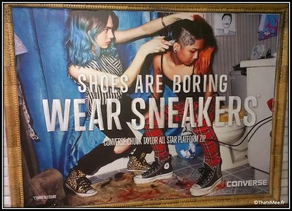 Converse Shoes Are Boring wear sneakers affiche pub fille crane rasé copines
